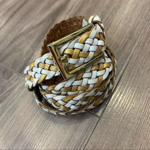 Marciano Leather Woven Belt White and Gold